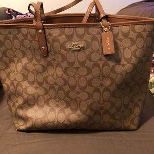 Extra large coach leather coated reversible bag